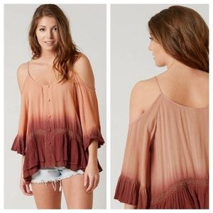 gimmicks by BKE Tops - GIMMICKS BKE Ombre Dip Dye Cold Shoulder Top Small